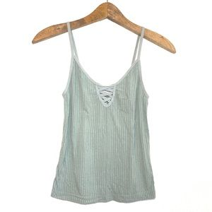 PacSun Mint Green Criss Cross Ribbed Tank